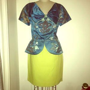 Vintage Chartreuse Acid Yellow 80s Pencil Skirt